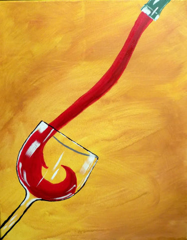 Oil Painting - The Red Pour - Bar Art by Deepak Tomar
