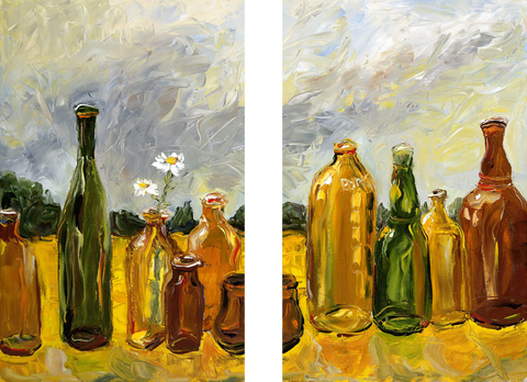 Oil Painting of Glass Bottles - Art Panels