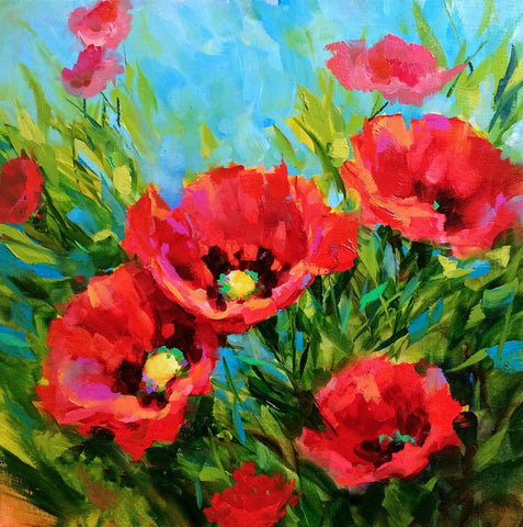 Oil Painting - Poppies In Bloom
