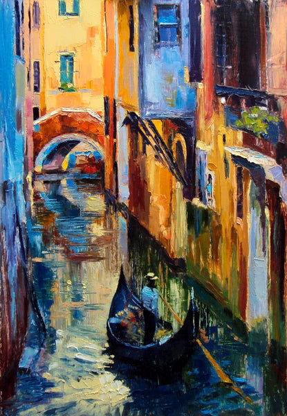 Oil Painting Of Gondola In A Canal In Venice - Art Prints