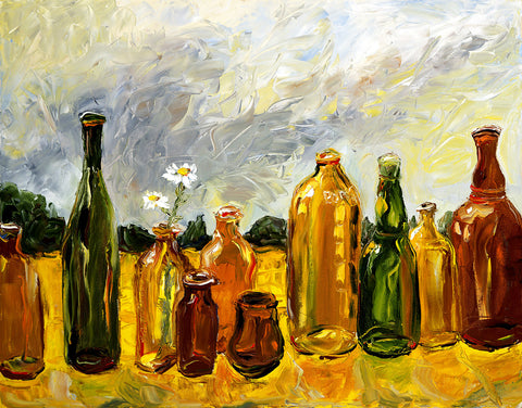 Oil Painting Of Glass Bottles by Christopher Noel