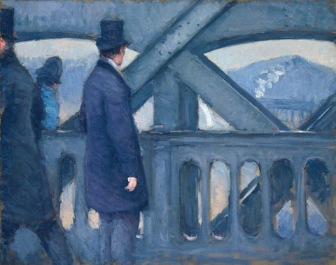 On the Pont de l'Europe (Le Pont de Leurope Esquisse) -  Gustave Caillebotte - Impressionist Painting