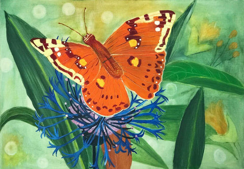 Orange  Butterfly - Contemporary Watercolor Painting Art Print by Federico Cortese