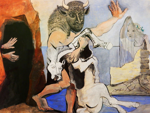 Minotaur Mare Died Before a Cave and Face An Au Veil by Pablo Picasso