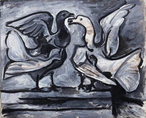 Two Doves with Wings Spread - ( Deux pigeons aux ailes déployées ) by Pablo Picasso