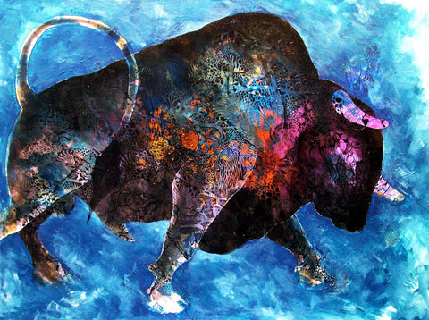 Painting - Big Bull At Stock Market - Canvas Prints