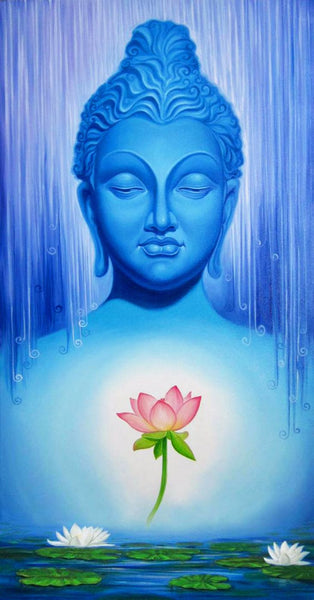 Painting - Buddha With Lotus - Canvas Prints