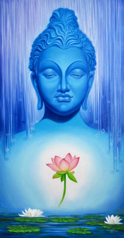 Painting - Buddha With Lotus - Framed Prints