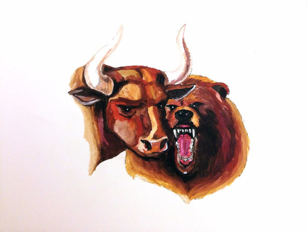 Painting - Bull Bear At Stock Market - Canvas Prints