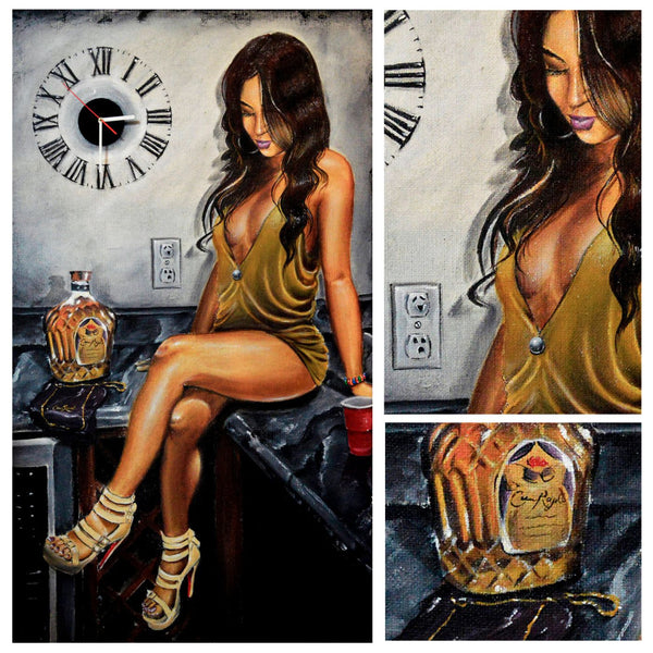 Painting - Crown Royal Whiskey Girl - Bar Art - Framed Prints