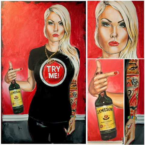 Painting - Girl With Jameson Whiskey - Bar Art by Deepak Tomar
