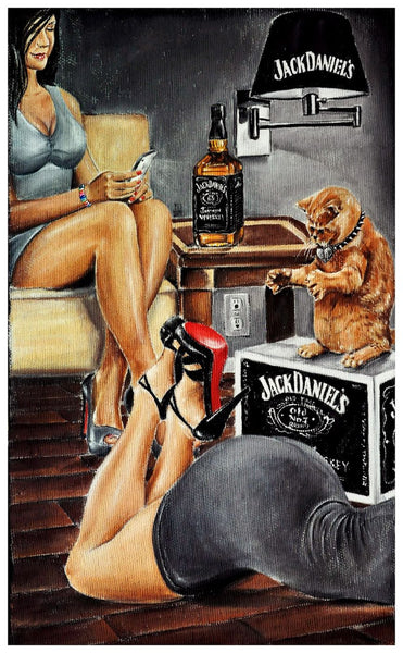 Painting - Jack Daniels Ladies With Cat - Bar Art - Canvas Prints