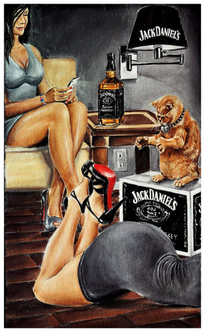 Painting - Jack Daniels Ladies With Cat - Bar Art - Framed Prints