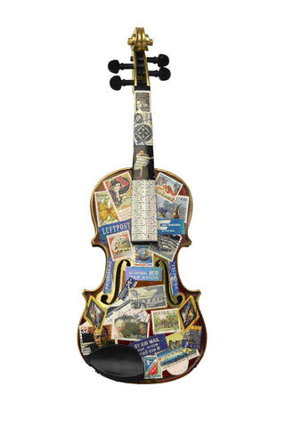 Painting Of A Violin Thats Been Places - Posters