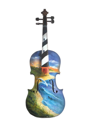 Painting Of A Violin Thats Thinks It Is A Lighthouse - Posters