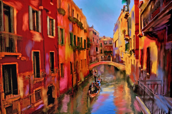 Painting Of Gondola Ride In Venice - Framed Prints