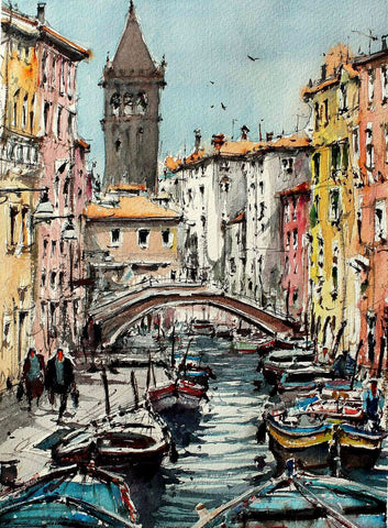 Painting Of Gondolas Along The Grand Canal In Venice - Framed Prints
