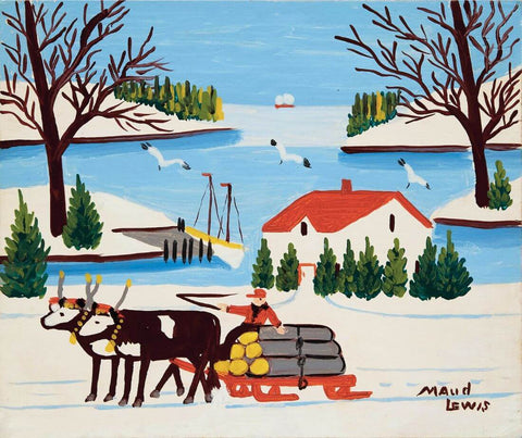 Pair of Oxen with Sled of Logs - Maud Louis - Posters by Maud Lewis