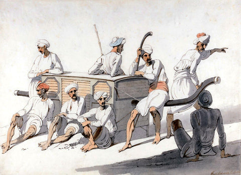 Palanquin Bearers Resting - George Chinnery - c 1806 - Vintage Orientalist Painting of India by George Chinnery