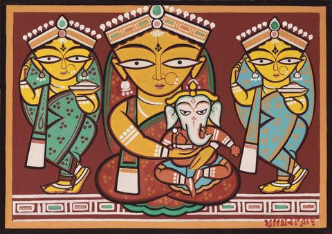 Parvati and Ganesh - Jamini Roy by Jamini Roy