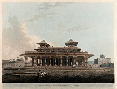 Pavilion in the fort of Allahabad, Uttar Pradesh - Coloured Aquatint - Thomas Daniell  - 1795 Vintage Orientalist Paintings of India by Thomas Daniell