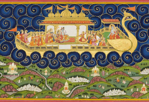 Peacock In The Desert The Royal Arts of Jodhpur, India  - Indian Miniature Painting From Ramayan - Vintage Indian Art by Kritanta Vala