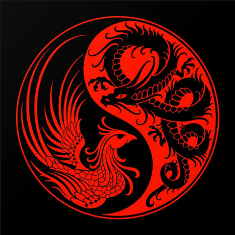 Dragon And Phoenix - Yin And Yang II by Tallenge Store
