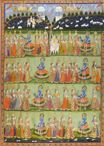 Pichhavai Depicting Dana Lila (Krishna Demands a Toll from the Gopis) - 19th Century Vintage Indian Art Painting