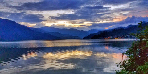 Picturesque Phewa Lake With Pokhara City Nepal