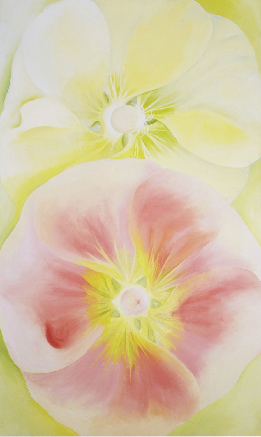Pink And Yellow Hollyhocks - Canvas Prints by Georgia O\'Keeffe | Buy ...