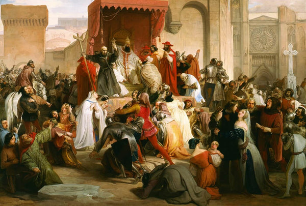 Artwork of Pope Urban II Preaching The First Crusade In The Square Of Clermont by Francesco Hayez