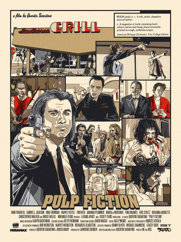 Pulp Fiction - John Travolta - Tallenge Quentin Tarantino Hollywood Movie Art Poster Collection