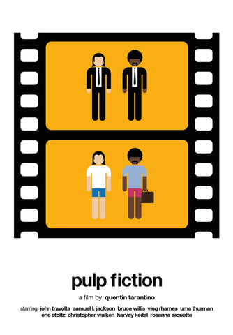 Pulp Fiction - John Travolta and Samuel Jackson - Quentin Tarantino - Tallenge Hollywood Cult Movie Poster