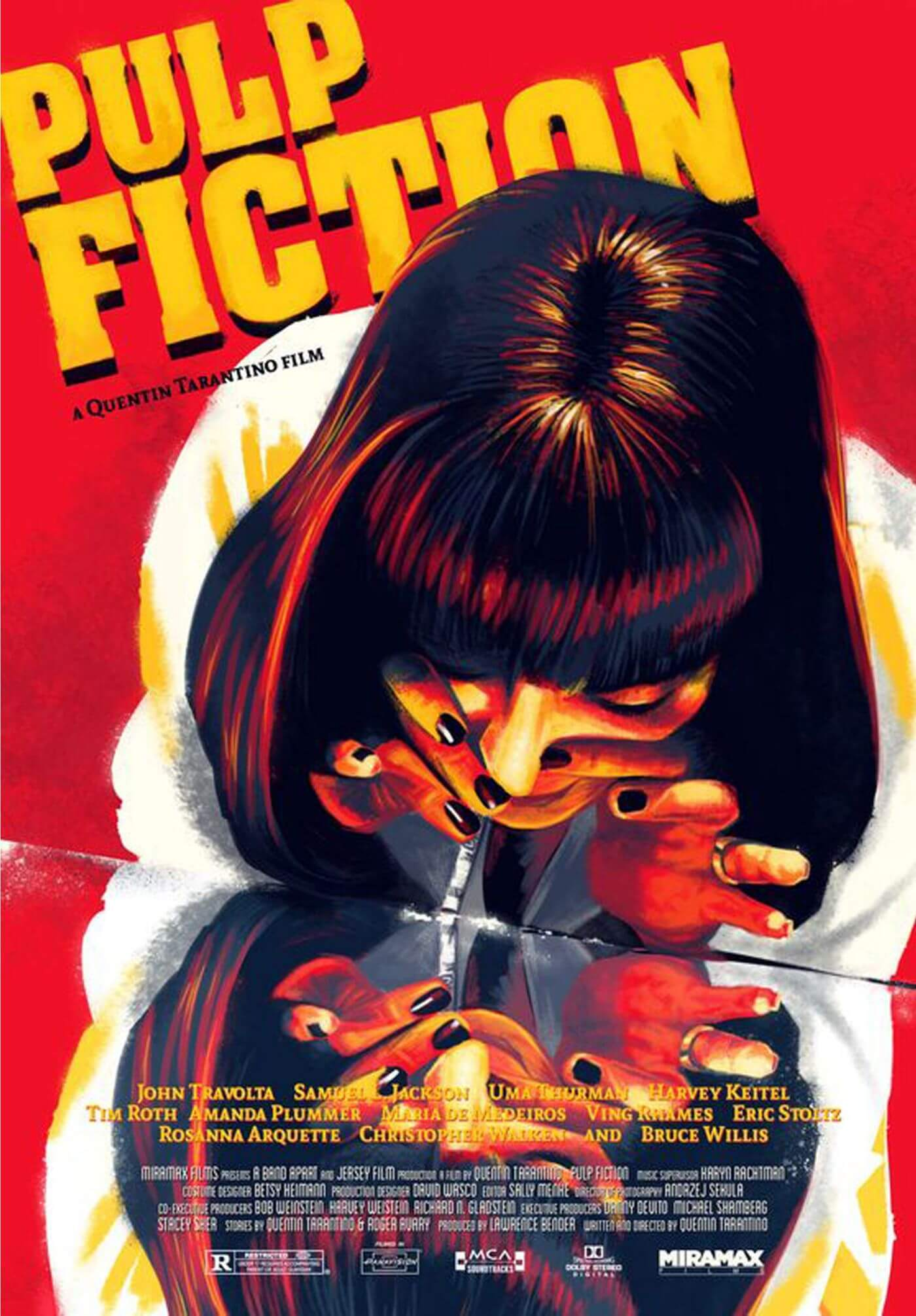 Pulp Fiction Uma Thurman As Mia Wallace Quentin Tarantino Hollywood Movie Poster Collection Canvas Prints By Joel Jerry Buy Posters Frames Canvas Digital Art Prints Small