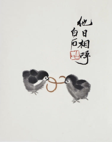 Two Chicks Fighting Over A Worm - Qi Baishi