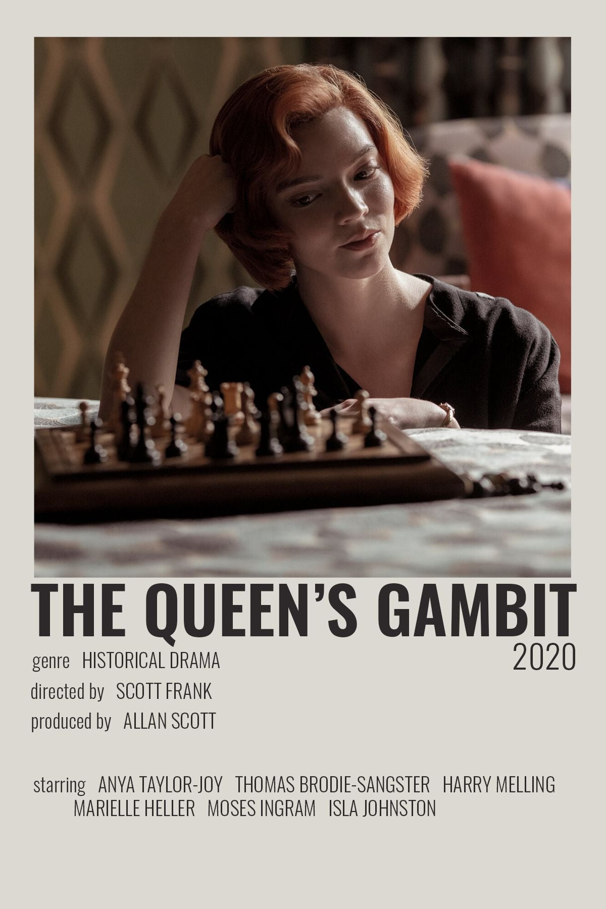 HD The Queens Gambit Movie TV Series Poster Canvas Painting Decoration Gift