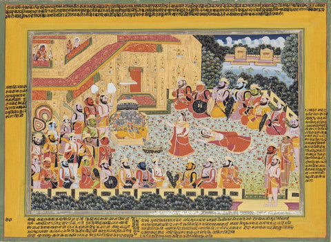 Ravanas Sister Shurpanakha Entices Her Brother To Abduct Sita- Rajput Painting - Mewar - 18 Century Vintage Indian Miniature Art From Ramayana