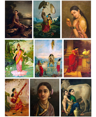 Set of 10 Best of Raja Ravi Varma Paintings - Poster Paper (12 x 17 inches) each