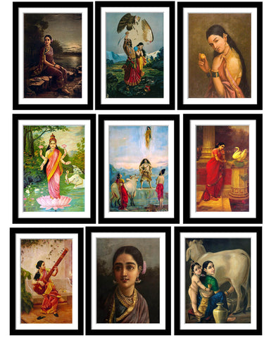 Set of 10 Best of Raja Ravi Varma Paintings - Framed Poster Paper (12 x 17 inches) each