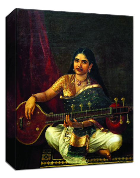 Set of 4 Raja Ravi Varma Paintings - Lady Playing The Veena,Malabar Lady with Veena, Lady with Swarbat, Young Woman with Veena - Gallery Wrapped Art Print (12 x 10 inches each)