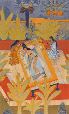Radha Viraha - Nandalal Bose - Bengal Art School Indian Painting by Nandalal Bose