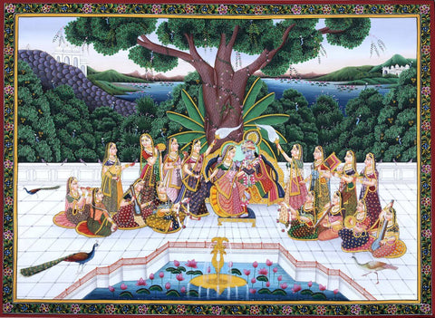 Radha Krishna In The Garden With Gopis - Indian Miniature Painting