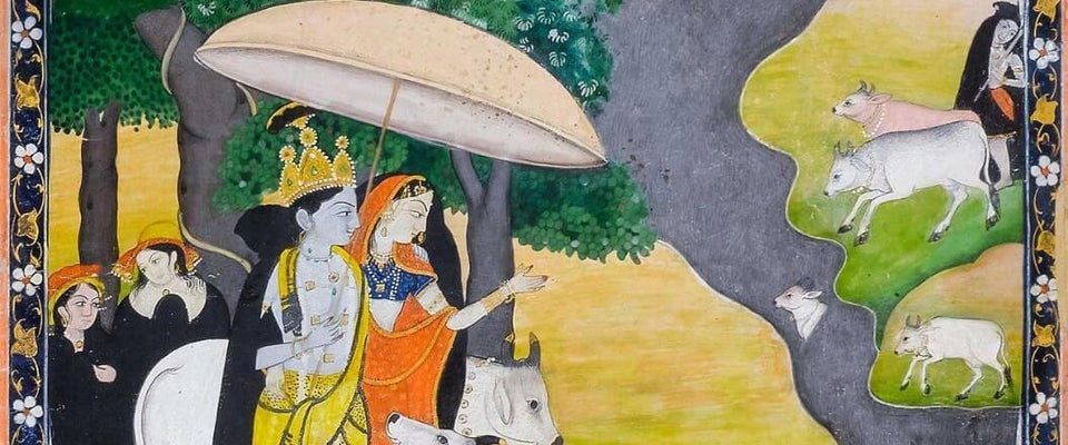 Radha Krishna In Rainy Season - Kangra Painting  School by Tallenge Store | Buy Posters, Frames, Canvas  & Digital Art Prints
