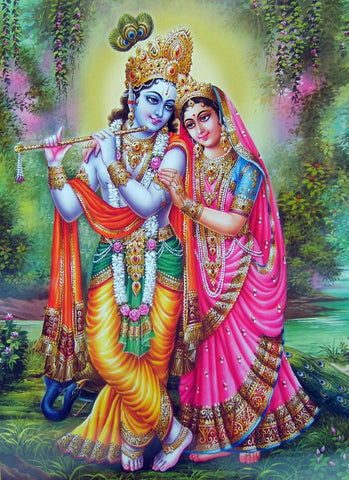 Radha and Krishna Together Playing the Flute - Art Prints