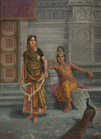 Radha and Krishna - M V Dhurandhar - Indian Masters Painting by M. V. Dhurandhar