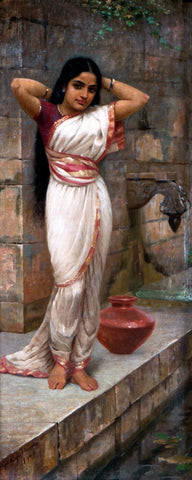 Lady adjusting hair after bath by Raja Ravi Varma
