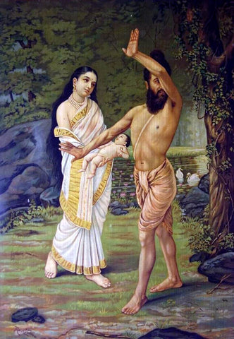 Mahabharata - Birth of Shakuntala by Raja Ravi Varma
