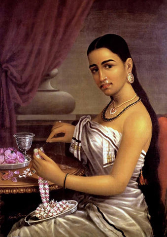 Lady with Flower Garland by Raja Ravi Varma
