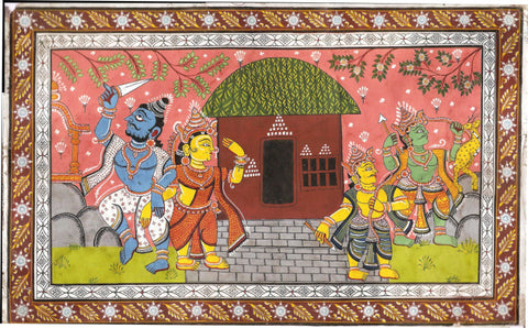 Rajasthani Painting - Ravan Abducts Sita While Ram And Lakshman Go After The Golden Deer