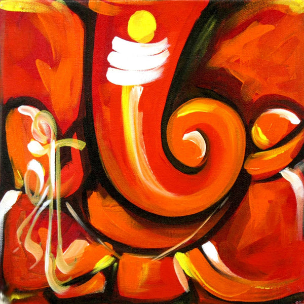 Rakta Ganpati - Ganesha Painting Collection - Canvas Prints